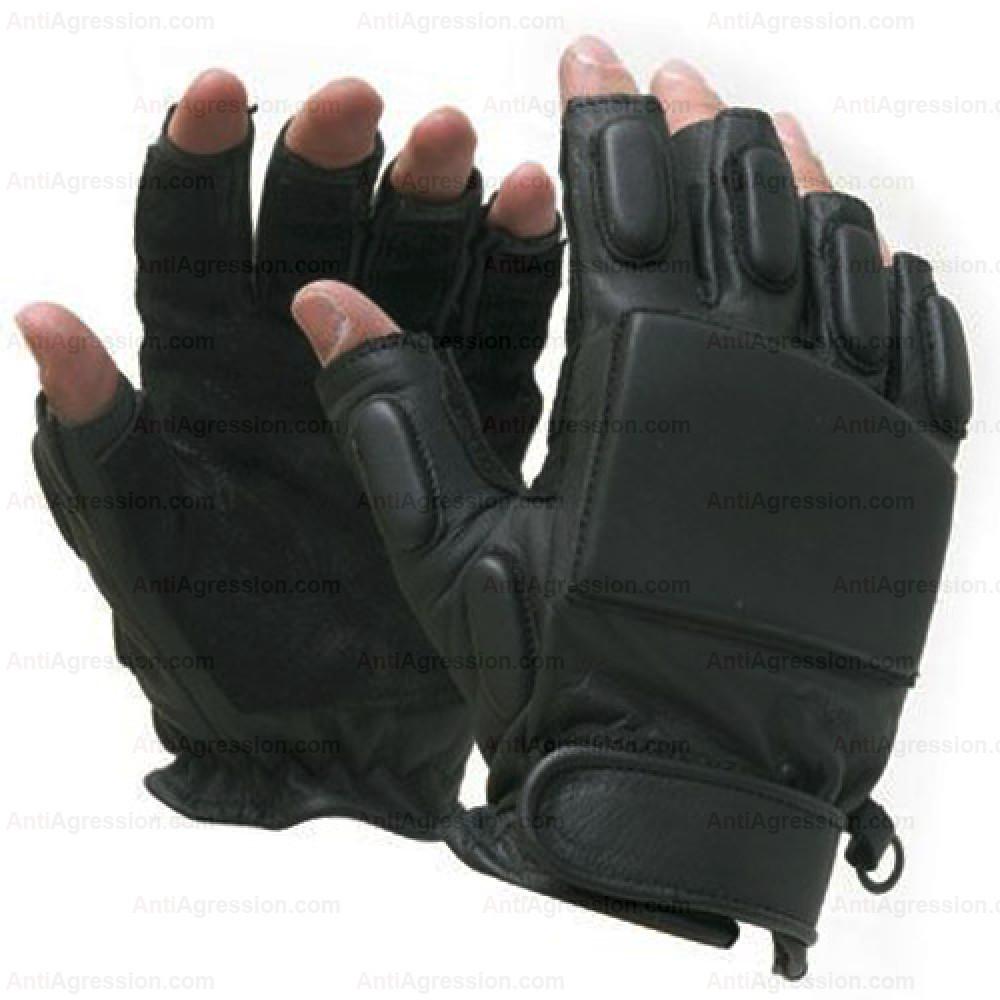 Gants SWAT intervention demi doigts cuir