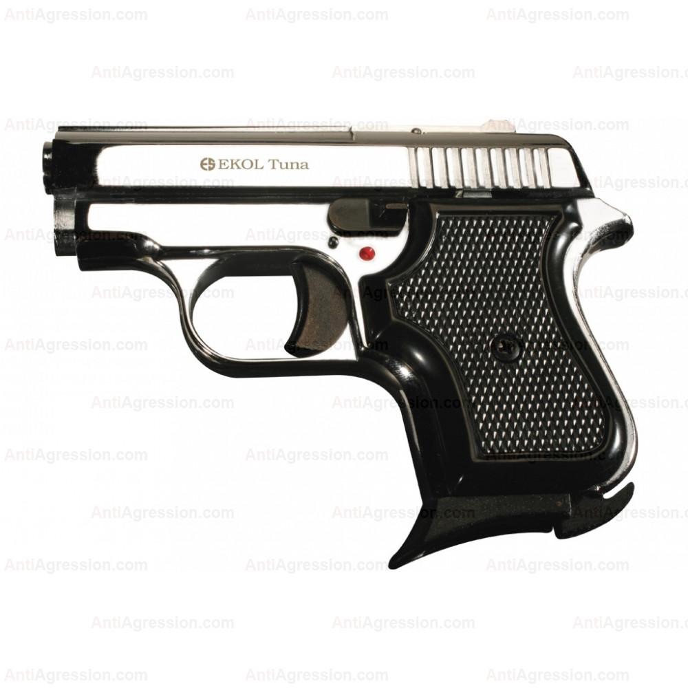 Pistolet EKOL Tuna chromé cal. 8 mm