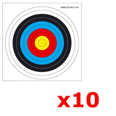 Lot de 10 Blasons pour Arc / Arbalète 40x40cm  FITA TEMPLE