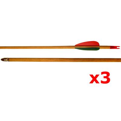 Lot de 3 flèches en bois naturel 7 mm