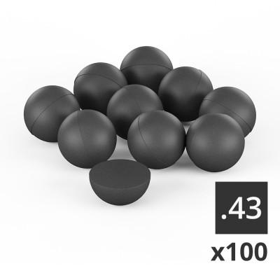 100 balles caoutchouc T4E Cal. 0.43 (en sachet)