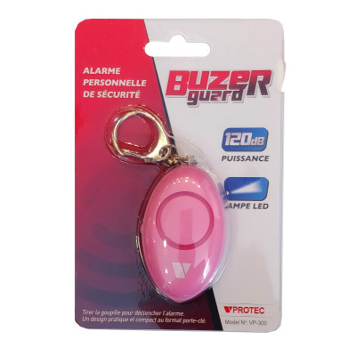 Alarme de défense porte clé rose + LED VPROTEC