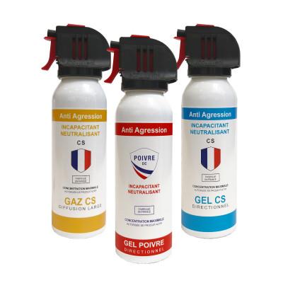 Pack 3 extincteurs lacrymogènes Gaz/Gel/Poivre 100ml - tête accusol