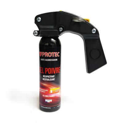 Bombe lacrymogène poivre 100ml VPROTEC - poignée extincteur