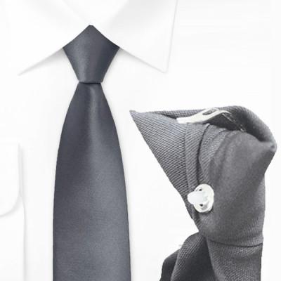 Cravate clip grise