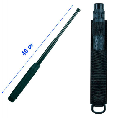 Matraque télescopique en acier trempé noire 40cm