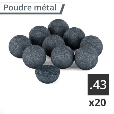 20 Billes caoutchouc-métal rubber steel UMAREX cal.43 (en sachet)