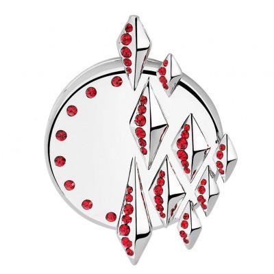 Bijou connecté Médaillon pointe rouge + lanière cuir rouge