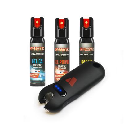 Pack auto-défense - 3 lacrymogènes et taser