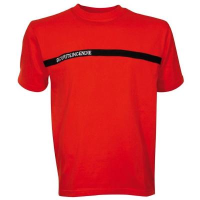 Tee-shirt brodé sécurité incendie manches courtes