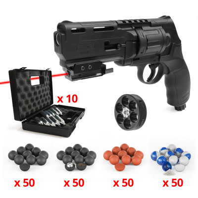 Pack Tactical Revolver de Défense Walther T4E HDR 50 Umarex CO2 11 Joules Cal.50