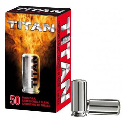 50 cartouches à blanc PERFECTA TITAN pour pistolet 9mm